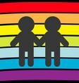 rainbow flag backdrop lgbt gay symbol two boy vector image vector image