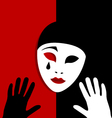 sad mask on red and black background vector image vector image