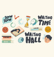 set icons long wait hourglass sleeping person vector image