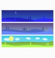 set landscapes morning twilight night natural vector image vector image