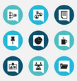 set of 9 editable bureau icons includes symbols vector image