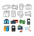 set of icons payment methods for lines and a flat vector image vector image