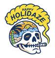 skull smoke in paradise vector image