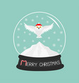 snowy white owl red santa hat flying bird big vector image vector image