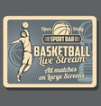 sport bar retro advertisement of basketball game vector image vector image