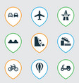 transportation icons set with quayside airplane vector image vector image