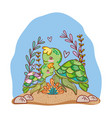 turtle family animals with seaweed plants vector image
