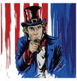 uncle sam drawn character with america flag vector image vector image