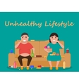 unhealthy lifestyle human laziness obese vector image vector image