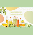 various healthy oil landing web page concept vector image vector image