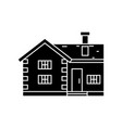 village cottage black icon concept village vector image