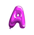 Violet letter a in shape of glossy air balloon