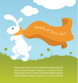 white rabbit Easter in cartoon style vector image