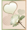 White rose and heart vector image vector image