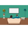 Young family man and women watching TV program vector image vector image