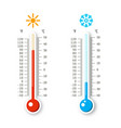 hot and cold weather icons thermometers isolated vector image