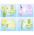 8 march womens day greeting cards design flowers vector image