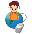 a globe with boy thinking vector image