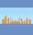 abu dhabi city skyline pixel art background vector image