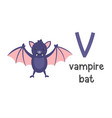 alphabet letter v and vampire bat vector image vector image