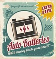 Auto batteries vintage poster design vector image vector image