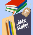 back to school sale poster design with notebooks
