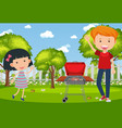 background scene with people and barbecue vector image vector image