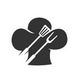 barbecue spatula fork hat chef logo template vector image vector image