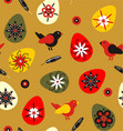 birds with easter eggs and feathers vector image