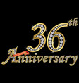 celebrating 36th anniversary golden sign vector image vector image