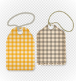 Checkered shopping tag with rope on transparent vector image vector image