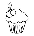 cherry cupcake icon outline line style vector image vector image