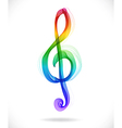 Color abstract treble clef vector image