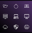 computer icons line style set with internet print vector image vector image