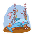 dolphin and seahorses animals with seaweed plants vector image vector image