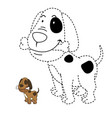educational game for kids and coloring book-dog vector image vector image