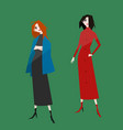 fashion girls in trendy autumn outfits cute vector image