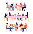 festive family dinner adults eat holiday dining vector image