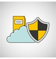 file folder cloud shield protection vector image vector image