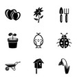 front garden icons set simple style vector image vector image