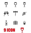grey wine icon set vector image vector image