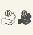 hand holding bitcoin piggy bank line and glyph vector image