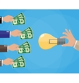 Hands with money and idea bulb Crowdfunding