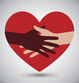 Handshake Helping Hands On Red Heart vector image vector image