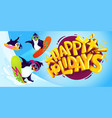 happy holidays cartoon vector image
