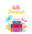 hello summer hand drawn lettering travel vector image vector image