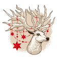 holiday card deer head with vector image vector image