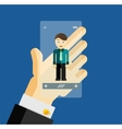 Human hand holding transparent screen smartphone vector image vector image