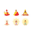 meditating people in yoga lotus poses set yogi vector image vector image