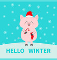 merry christmas pig holding candy cane sock red vector image vector image